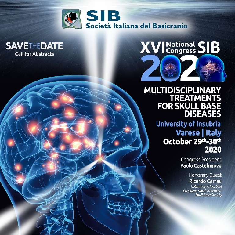 <font color=#FF0000>XVI National Congress SIB 2020 - Multidisciplinary treatments for skull base diseases -  Postponed to 2021</font>